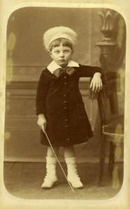 France Calais Children Fashion Game Walking Stick CDV Photo Vatour Alphonse 1890