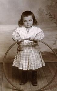 France Millau Jeu d'Enfants Cerceau Jouet Ancienne CDV Photo Galzin 1890