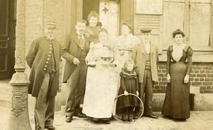 France Roubaix Groupe Posant Jeu d'Enfants Cerceau Ancienne Photo Masurel 1890