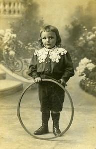 France Tourcoing Children Fashion Game Hoop Toy Old CDV Photo Baert 1900
