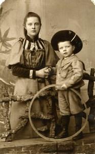 France Lille Jeu d'Enfants Cerceau Jouet Mere et Fils Ancienne CDV Photo Quinot 1890