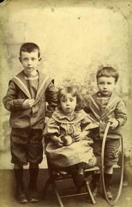 France Nancy Jeu d'Enfants Cerceau & Balle Ancienne CDV Photo Woelflin 1890