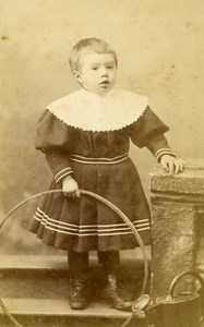 France Nice Jeu d'Enfants Cerceau Ancienne CDV Photo Lauro 1890