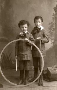 France Cambrai Jeu d'Enfants Cerceau Jouet Ancienne CDV Photo Caluyer 1890