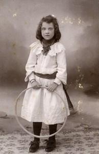France Lille Jeu d'Enfants Cerceau Jouet Ancienne CDV Photo Salamon 1890