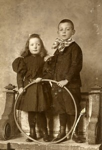 France Lille Children Fashion Game Hoop Toy Old CDV Photo Leroy 1890