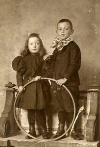 France Lille Jeu d'Enfants Cerceau Jouet Ancienne CDV Photo Leroy 1890