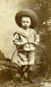 France Lyon Jeu d'Enfants Cerceau Jouet Ancienne CDV Photo Prouzet 1890
