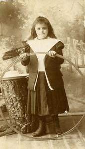 France Lille Jeu d'Enfants Cerceau Jouet Ancienne CDV Photo Desbottes 1890