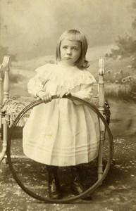 France Anzin Jeu d'Enfants Cerceau Jouet Ancienne CDV Photo Beck 1890