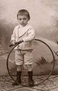 France Jeu d'Enfants Cerceau Jouet Ancienne CDV Photo 1890