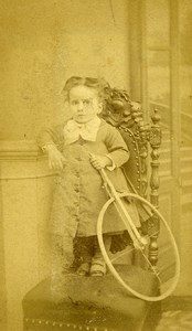 France Paris Jeu d'Enfants Cerceau Jouet Ancienne CDV Photo Yrondy 1870