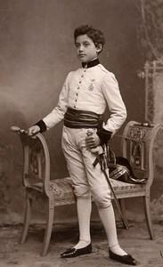 France Lille Jeune Garcon en Costume Militaire Ancienne CDV Photo Piccolati 1890