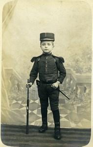 France Lille Jeune Garcon en Costume Militaire Ancienne CDV Photo Castelain 1890
