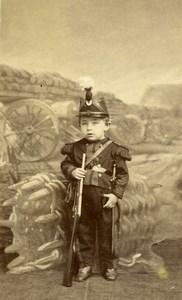 France Lille Jeune Garcon en Costume Militaire Ancienne CDV Photo Delabarre 1870