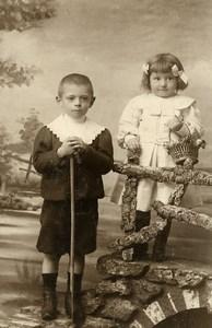 France Tourcoing Jeu d'Enfants Panier Canne Ancienne CDV Photo Lampe 1890