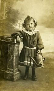 France Jeu d'Enfants Arrosoir en Metal Jouet Ancienne CDV Photo 1890