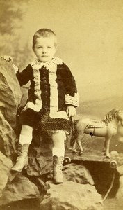 France Le Mans Children Fashion Game Pulling Horse Toy CDV Photo Gustave 1870