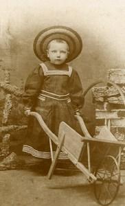 France Vernon Jeu d'Enfants Brouette et Cerceau Ancienne CDV Photo Mousseau 1890