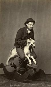 Belgique Bruxelles Homme sur un Cheval à Bascule Jouet Ancienne CDV Photo Delabarre 1870