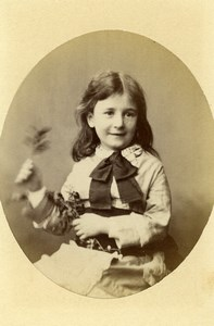 United Kingdom London Children Fashion Flowers Old CDV Photo Faulkner 1879