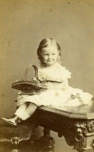 Royaume Uni Folkestone Fillette et Panier Ancienne CDV Photo Lambert Weston 1880