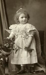 France Lyon Jeu d'Enfants Fillette et Bouquet Panier Ancienne CDV Photo Bellingard 1890