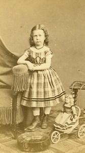 France Cambrai Fashion Girl & her Doll & Tricycle Toys Old CDV Photo Caze 1870
