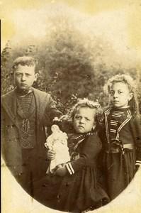 France Jeu d'Enfants Fillette et sa Poupée Ancienne CDV Photo 1890