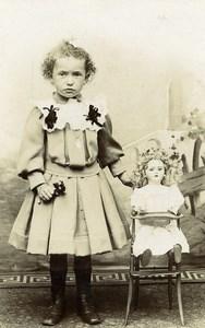 France Tourcoing Jeu d'Enfants Poupée dans sa Chaise Ancienne CDV Photo Jules Baisez 1890