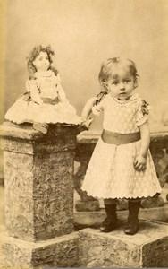 France Paris Jeu d'Enfants Fillette et grande Poupée Ancienne CDV Photo Gallot 1890
