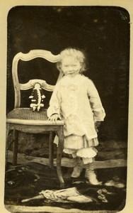 France Jeu d'Enfants Fantome Fillette et sa Poupée Ancienne CDV Photo 1890