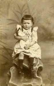 France Wattrelos Jeu d'Enfants Fillette & sa Poupée Ancienne CDV Photo Deroubaix 1890