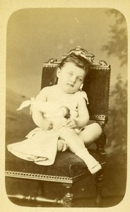 France Le Mans Little Girl & her Doll Old CDV Photo Gustave 1890