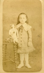 France Roubaix Young Girl & her Doll Old CDV Photo Coudroy 1880
