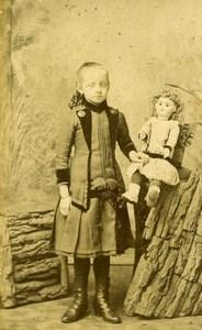 France Tourcoing Jeune Fille et sa Poupée Ancienne CDV Photo Clement 1890