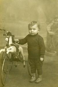 France Roubaix Jeu d'Enfants Cheval Tricycle Ancienne CDV Photo Planque 1890