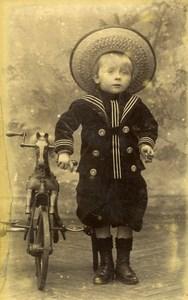 France Roubaix Jeu d'Enfants Cheval Bicyclette Ancienne CDV Photo Hermant 1890