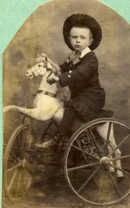 France Jeu d'Enfants Garconnet sur un Cheval Tricycle Ancienne Photo 1890