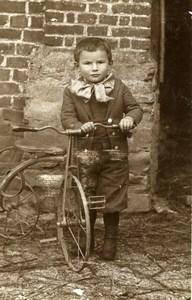 France Jeu d'Enfants Garconnet et son Tricycle Ancienne CDV Photo 1890