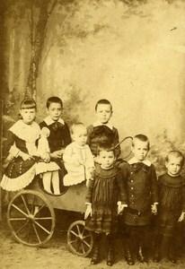 France Roubaix Groupe d'Enfants la Charrette Ancienne CDV Photo Nys 1890