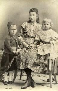 France Mere et ses Enfants Petit Soldat Jeu d'Enfants Ancienne Photo Amateur 1900
