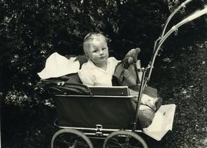 France Garconnet et Ours en Peluche Poussette Ancienne Photo Amateur 1957