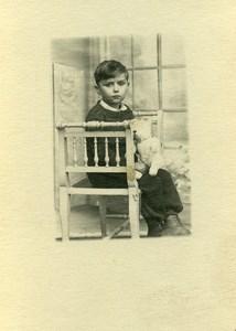 France Garconnet et Ours en Peluche Poussette Ancienne Photo Amateur 1930