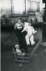 France Fillette et sa Poupée & Ours blanc Ancienne Photo Amateur 1949