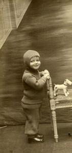 France Roubaix Jeu d'Enfants Petit Chien Fox Terrier Milou? Ancienne Photo Amateur 1930