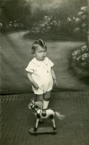 France Garconnet Cheval à Tirer Jeu d'Enfants Ancienne Photo Amateur 1930