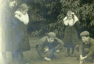 France les Joueurs de Bille Jeu d'Enfants Ancienne Photo Amateur 1910