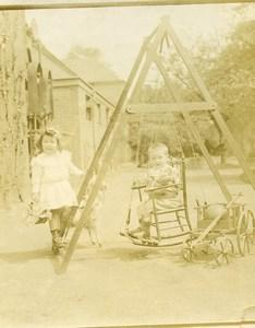 France Balancoire & Charriot Jeu d'Enfants Ancienne Photo Amateur 1900