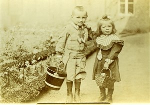 France les Petits Jardiniers Andre & Marie-Louise Devred Ancienne Photo Amateur 1900